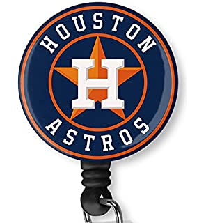 Retractable Badge Reel Name Tag ID Pull Clip Holder Lanyard Houston Astros Gift