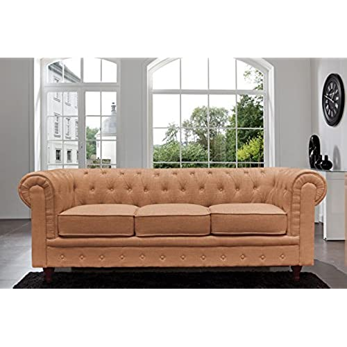 Classic Scroll Arm Chesterfield Sofa   Linen   Tufted