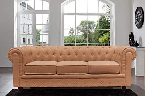 Classic Scroll Arm Chesterfield Sofa - Linen - Tufted (Linen Tufted Couch)
