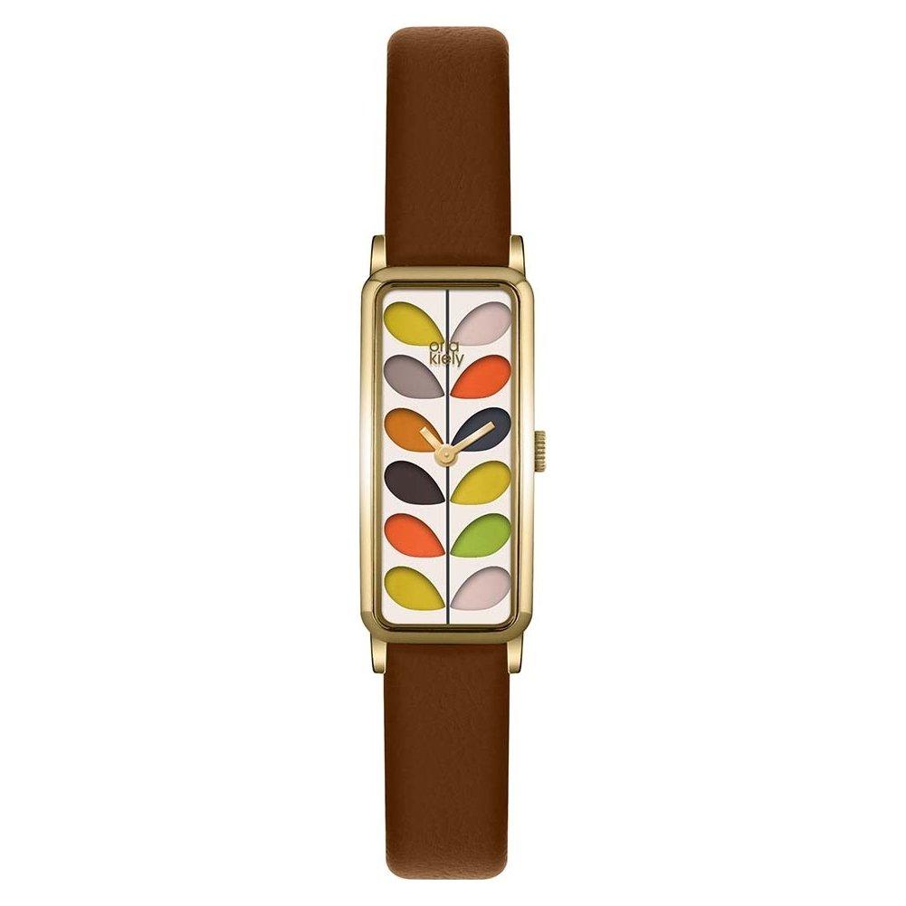 Orla Kiely OK2104 Ladies Stem Print Tan Leather Strap Watch