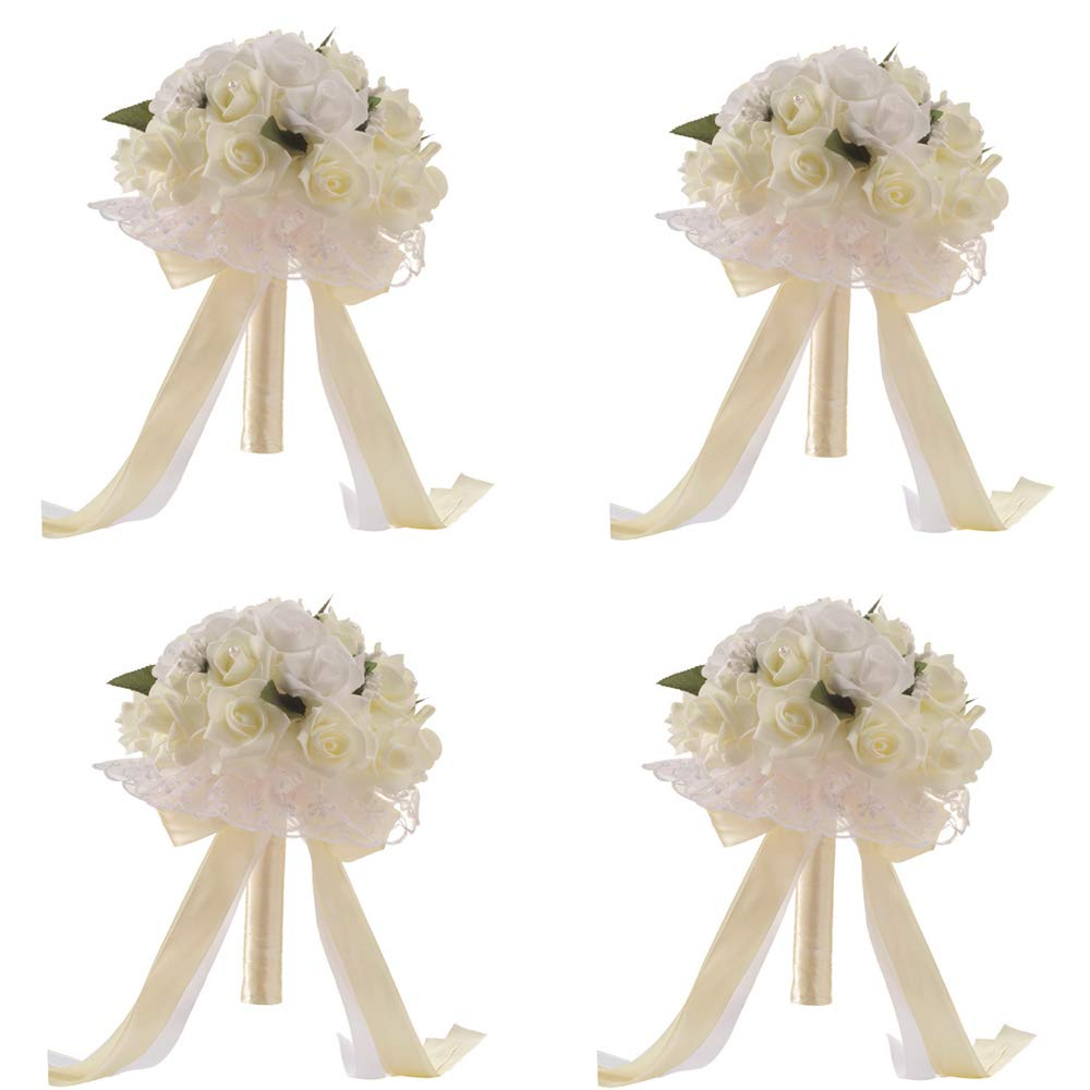 Anferstore ウェディングブーケ パールシルクローズ ブライダルブライズメイド ウェディングハンドブーケ 人工フェイクフラワー 結婚式 パーティー 教会用 10 x 8 inch B07MQFF1L6 4 Pack White