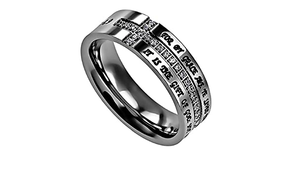 North Arrow Shop Sideways Cross Ring with Simulated CZ Philippians 4:7 Guarded Stainless Steel