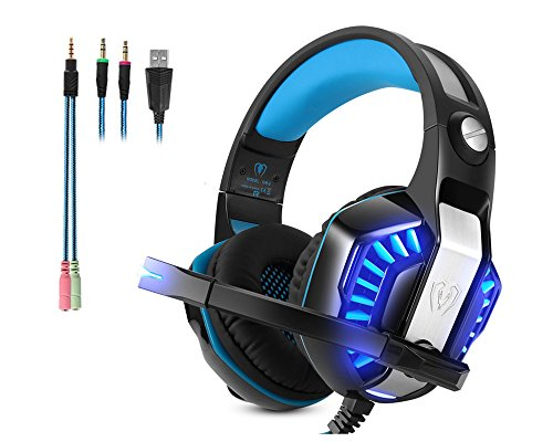 Micolindun Gaming Headset Microphone PC Headphone Gamer with Mic 3.5mm Bass Stereo Volume Control LED for PC, Laptop, Tablet and Smartphone, PS4 (Splitter Adapter include)