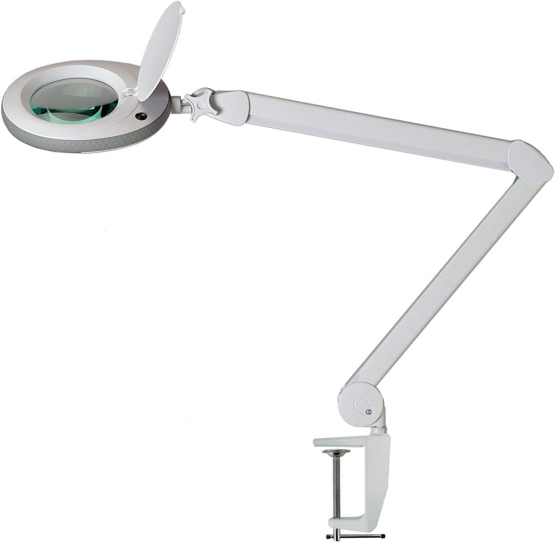 Lumeno Lámpara Lupa, lámpara de Trabajo, lámpara cosmética con 96 Leds, Gris, 721XGR para Salones de cosmética Ayuda de Lectura, Lupa de Lente, en 3, 5 u 8 dioptrías Gris 8 dioptrías
