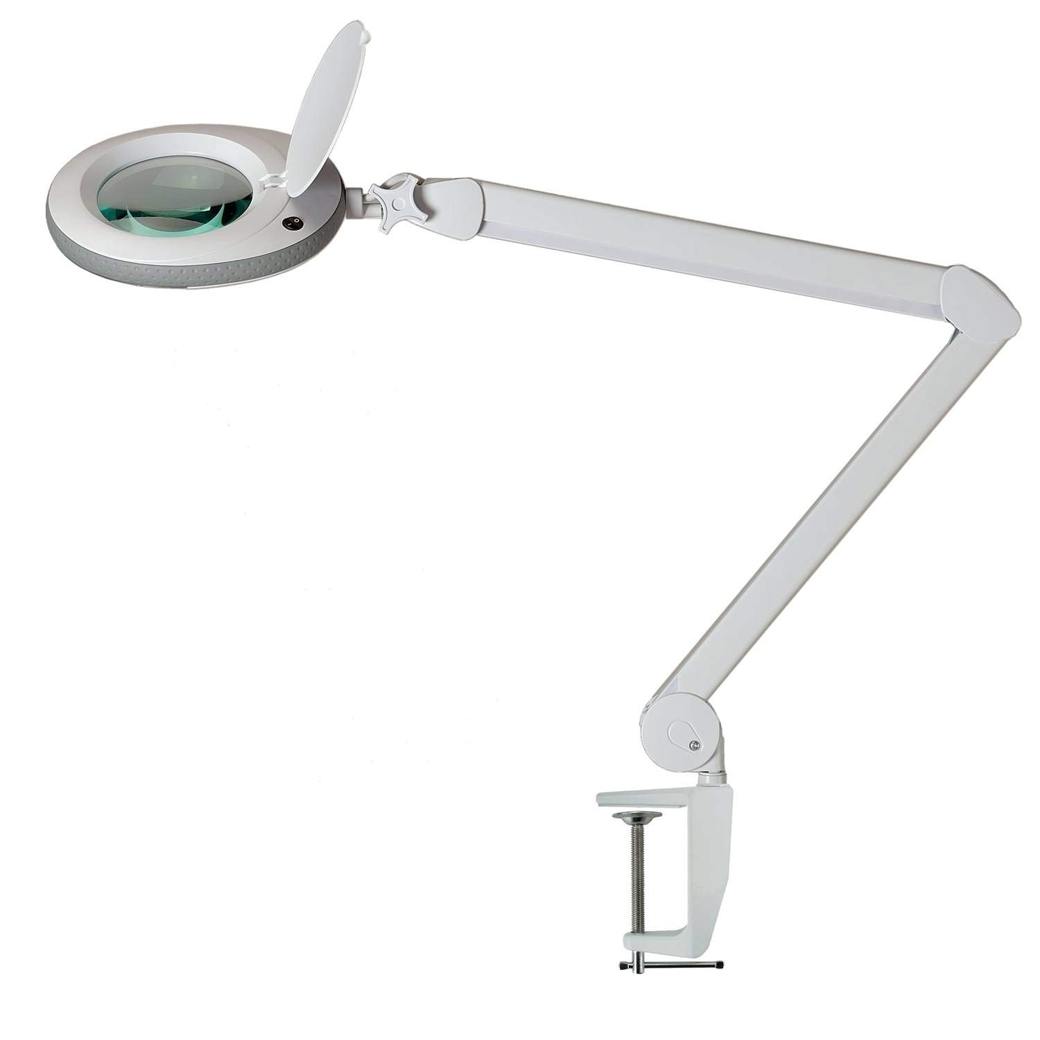 Lumeno Magnifying lamp, workplace lamp, cosmetic lamp with 96 LEDs, grey, for cosmetic salons, practices, hobbyists, reading aid/enlargement lamp/lens/loupe magnifier in 3, 5 or 8 dioptres 3 dioptre