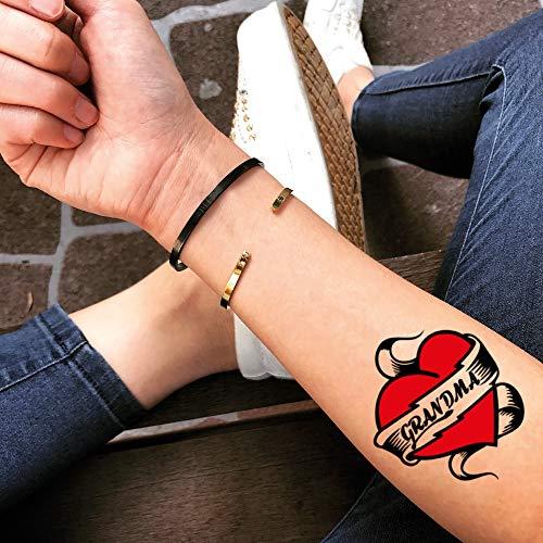 Grandma Temporary Fake Tattoo Sticker (Set of 2) - www.ohmytat.com -