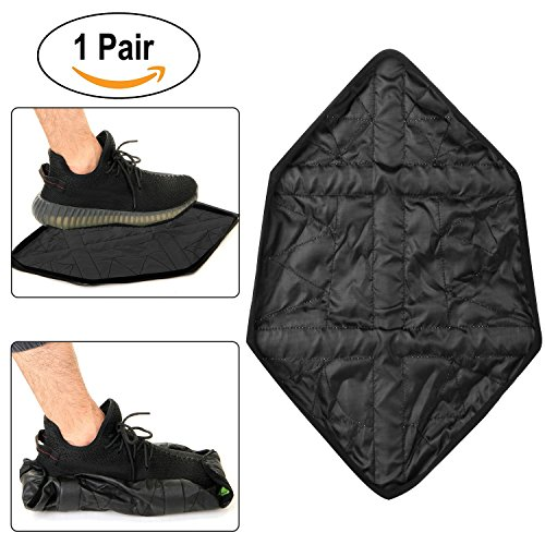 HK Shoes Covers Waterproof for Men Women Automatic Shoe Covers Reusable Construction Booties Black (Mens Shoe Cover)