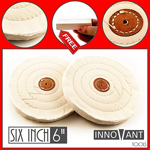 "INNOVANT 6"" Cotton Bench Grinder Buffing & Polish Wheel Set 2PC Long Life Stitching fits 1/8"" (3mm) Mandrel Best for Buff & polishing metal aluminum stainless steel brass chrome iron"