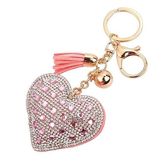 Key Chain, FTXJ Love Rhinestone Tassel Keychain Key Ring (Pink)