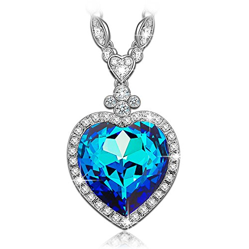 LADY COLOUR Gifts for Women Necklace Heart of Ocean Swarovski Crystals Necklace Sapphire Pendant Heart Jewelry for Women Birthday Gifts for Women Grandma Girlfriend Mom for Her (Titanic Heart)