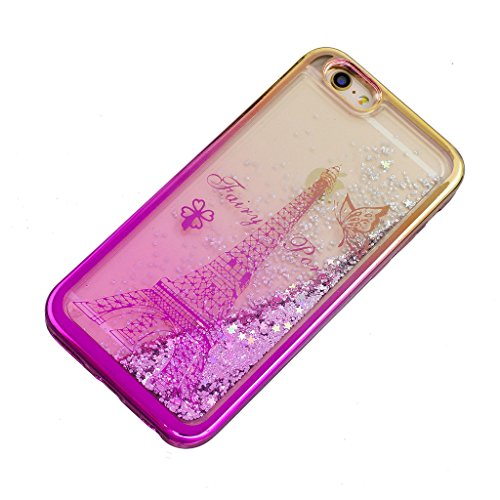 "Crisant Flüssig Fließende Bling Turm Design schutzhülle Hülle für Apple iPhone 6 Plus / 6S Plus 5.5"" (5,5''),Netter kleiner Bär Luxury Tasche Schutz weich Silikon TPU Transparent Back Handy Case Cover"