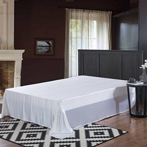 ALASKA BEAR - 100% 19 Momme Mulberry Silk Bed Sheet, Seamless Flat Top Sheet, Hypoallergenic, Full, Pearl White ()