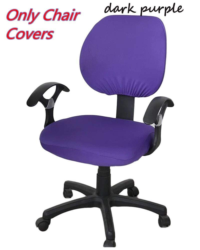 FreeSee Computer Office Chair Cover - Split Protective & Stretchable Cloth Polyester Universal Desk Task Chair Chair Covers Stretch Rotating Chair Slipcover (Dark Blue)
