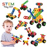 STEM Toys Kit, 75 PCS Educational Construction Engineering Building Blocks Learning Set for Ages 3,...