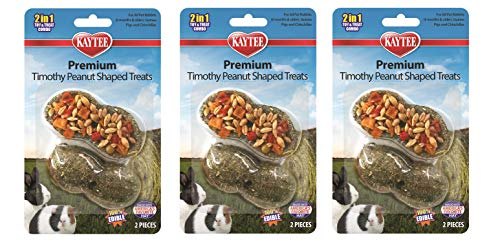 Kaytee Peanut - Kaytee 3 Pack of Premium Timothy Peanut-Shaped Treats for Small Pets
