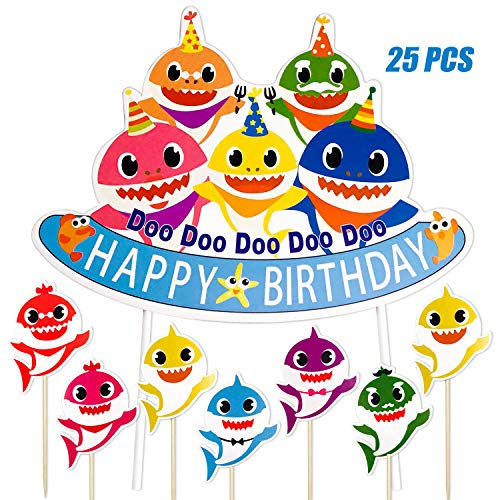 Bolove Shark Birthday Cake Topper, Shark Theme Party Kids Birthday Party Supplies ()