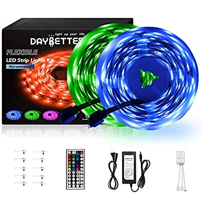 DAYBETTER Led Strip Lights 32.8ft 10m with 44 Keys IR Remote and 12V Power Supply Flexible Color Changing 5050 RGB 300 LEDs Light Strips Kit for Home, Bedroom, Kitchen,DIY Decoration