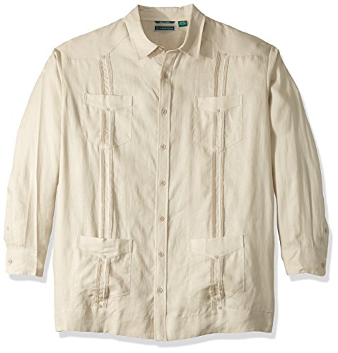 Cubavera Men's Long Sleeve 100% Linen Guayabera Shirt, Natural Linen, Medium