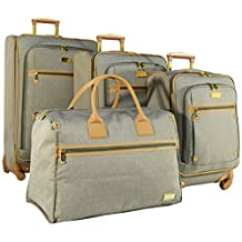 """Nicole Miller Taylor Set of 4: Box Bag, 20"""", 24"""", 28"""" Expandable Spinner Luggages"""