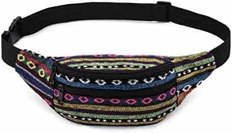 Kayhoma Boho Fanny Pack Stripe Festival Bum Bags Travel Hiking Hip Waist Bag
