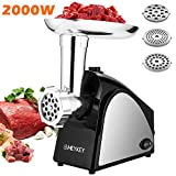 Electric Meat Grinder 2000W, Sausage Grinder with 3 Stainless Steel...