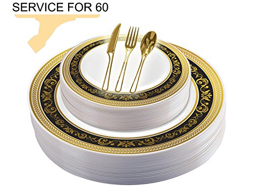 Tiger Chef 300 PCS / 60 Guest Royalty Wedding Disposable Plastic Plate and Silverware Combo Set, Includes 60 10.75-in and 7-in Plates, and 60 Forks, Spoons, and Knives (Royalty Black and Gold) for $<!--$104.99-->