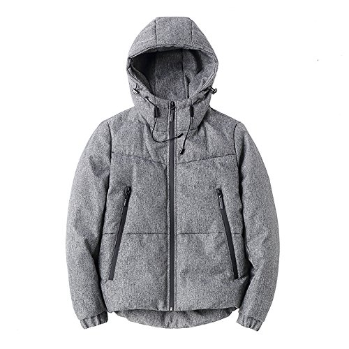 Grey L Lsm-Coat Men's Winter Casual Hooded Warm Thick Padded Jacket Coat Outwear