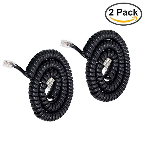Telephone Handset Cord,Uvital Coiled Length 1.2 to 10 Feet Uncoiled Landline Phone Handset Cable Cord RJ11 4P4C(Black,2 PCS) (Telephone Cord Black)