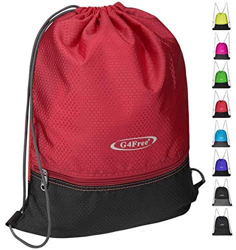 G4Free Drawstring Backpack Sports Gym Bag Pull String Bag Athletic Cinch Bag Men Women Sackpack Gymsack(Red-Black)