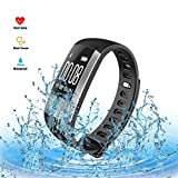 G20 Blood pressure heart rate monitor ECG and PGG pater Joy Waterproof Smart Bracelet - Fitness Tracker - Bluetooth Pedometer with USB Charger for Android and iOS . (black)