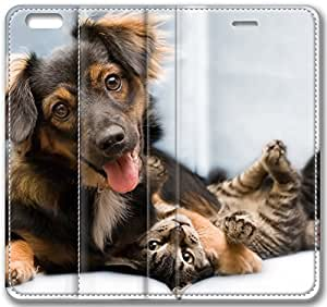 Cat Dog Friends Leather Cover for iPhone 6 4.7 inch(Compatible with Verizon,AT&T,Sprint,T-mobile,Unlocked,Internatinal) by icecream design