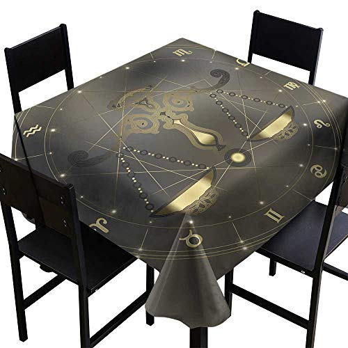 Zodiac Scales Libra - OUTDRART Modern Waterproof Table Clothes Golden Scales Zodiac Libra Sign,W60 x L60 for Holiday Dinner