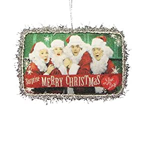 """5.25"""" Lucy Decoupage Beaded Postcard Ornament """"surprise - Merry Christmas."""""""