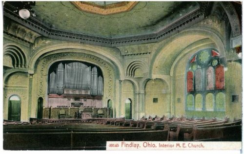 - Photo Reprint Findlay, Ohio. Interior M. E. Church 1901-1910