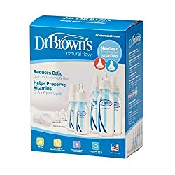 Dr. Brown's BPA Natural Flow Bottle Newborn Feeding Set (Packaging may vary) and Bottle Brush