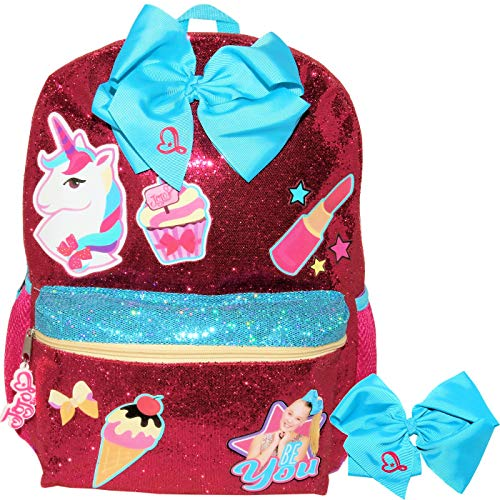 JoJo Siwa Just Be You Glitter Backpack with Jojo Bow Hair Tie