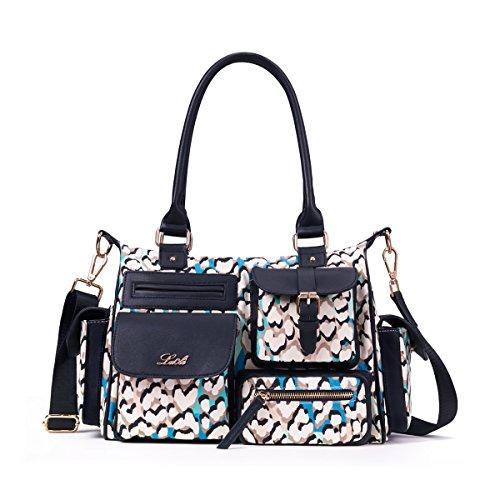 Lacle LA CLE Multi-Pockets Top Handle Waterproof Printed Denim Cotton Canvas Crossbody Shoulder Handbag