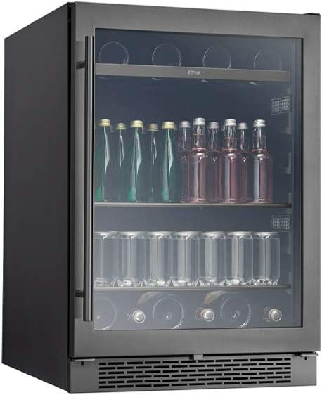 Zephyr PRB24C01BBSG Presrv 24 Inch Single Zone Wine Cooler with 304-grade Black Stainless + Glass Door, 5.6 cu/ft, Built-In and Freestanding, Wine Fridge, Beer Fridge, Reversible Door, ENERGY STAR