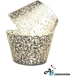 A&S Creavention Vine Cupcake Holders Filigree Vine Designed Decor Wrapper Wraps Cupcake Muffin Paper Holders - 50pcs (50, Brilliant Silver)