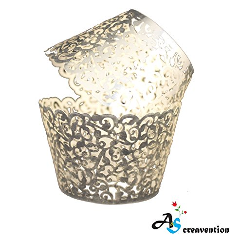 A&S Creavention Vine Cupcake Holders Filigree Vine Designed Decor Wrapper Wraps Cupcake Muffin Paper Holders - 50pcs (50, Brilliant Silver)