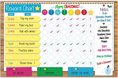 Crafty Charts - Family Responsibility Reward Chart Dry Erase Poster Board Repositionable at a Glance Weekly Planner Chore Chart Bright Colors - FREE Marker Pen & Eraser - X-LARGE 17 inch x 11 inch (Kids Good Behavior Chart compare prices)