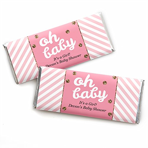 - Custom Hello Little One - Pink and Gold - Personalized Girl Baby Shower Favors Candy Bar Wrappers - Set of 24