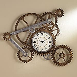 Vory Old Fashioned Wall Clock Metal Rustic Modern Industrial Steampunk Bedroom Decor 100x82cm