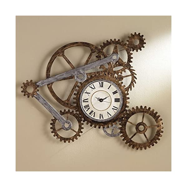 Vory Old Fashioned Wall Clock Metal Rustic Modern Industrial Steampunk Bedroom Decor 100x82cm 3