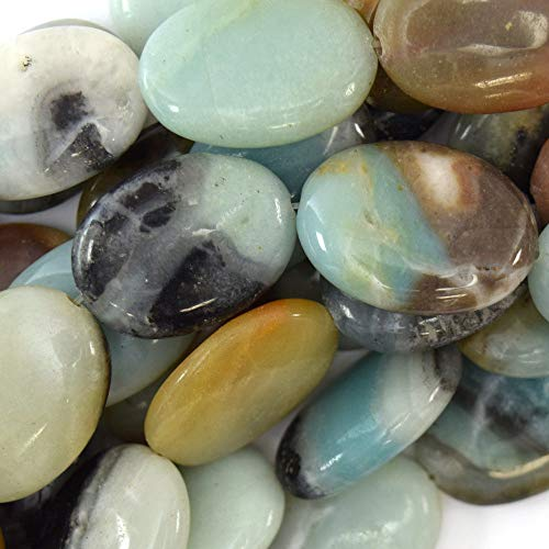25mm Multicolor Blue Amazonite Flat Oval beads 15.5'' Strand