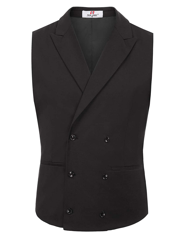 Paul Jones Men's Stylish Slim Fit Lapel Collar Double-Breasted Suit Vest
