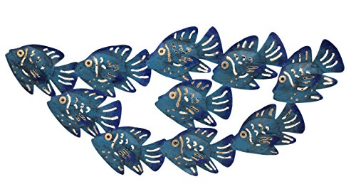 Handcrafted Blue and Gold School of Fish Metal Wall Sculpture