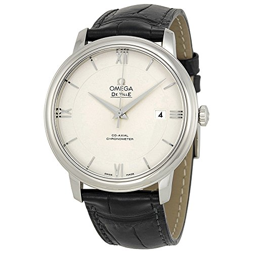 Omega De Ville Prestige Silver Dial Black Leather Mens Watch 424.13.40.20.02.001