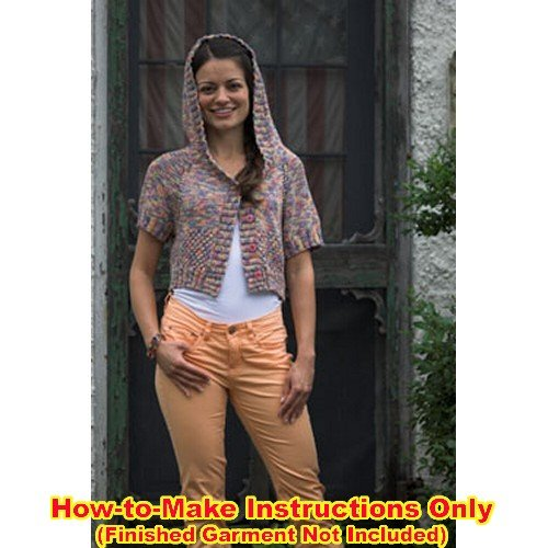 Plymouth (1-Pack) 2493 Colorando Yarn Pattern Leaflet Hooded Raglan with Knotted Stitch Lace-1P