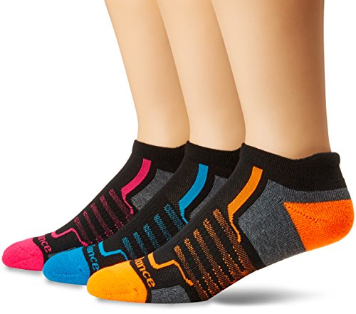 New Balance Performance Low Cut Tab Socks (3 Pair), Black/Dark Grey/Blue/Pink/Orange, Medium